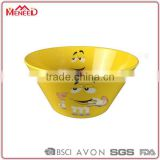 Chinese factory direct supply gift items yellow plastic cheap cereal bowls, melamine custom promotional bowl