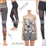 wholesale sports gym fitness athletic wear / custom colorful sexy womens black printed tight yoga pants