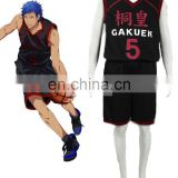 Rose Team-Free Shipping Kuroko's Basketball Daiki Aomine Too High School Basketball Team Uniform Black Number 5 Sexy Halloween C