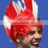 Fashion red white mohawk wig punk wig in red and white wig hair