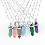 The Bulllet Six Natural Stone Crystal Pendant Necklace