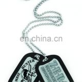 China wholesale custom design dog tag pendant with black silicone wrap, Aluminum Army military dog tag, USA ID tag, embossed tag