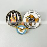 Custom badge made of iron in die cast process Bright plating custom logo personalized safety pin as anniversary souvenir