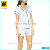 Ladies cotton Nightwear Pajama Set 100% Cotton Satin short Sleeve round Collar style Sleepwear Pajama