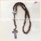 Lasted Imitation Long Wood Jesus Beaded Necklace Jewelry