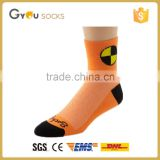 Orange imported coolmax ankle cycling socks with custom logo for teenage