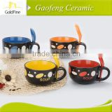 Eco-Friendly,Heat resisted,Eco-friendly Feature and Mugs Drinkware Type 16oz Crooked Ceramic Soup Mug with Fresh Decal