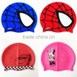 2015 Kids Spiderman Silicone Swimming Cap mouse Waterproof Swim Cap Children's Water Sport Wear