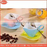 leaf shape delicate stoneware ceramic cup and saucer with iron spoon accept custom design logo