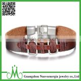 Rectangle Shape Alloy Men Women's Genuine Leather Bracelet Bangle Rope Brown Silver Tribal Style