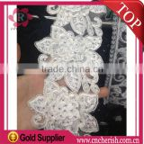 Wholesale beaded lace fabric bridal 80mm,embroidered lace trim white color for wedding dress                                                                         Quality Choice