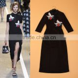 Wholesale 2015 Newest European Turn-down Collar 3/4 Sleeves Embroidery Designer Runway Fashion Split Sexy Women Dress                                                                         Quality Choice
