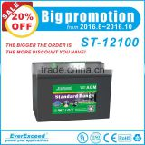 Promotion price EverExceed Standard Range VRLA rechargeable 12v 100ah agm battery / rechargeable battery with UL/CE/IEC