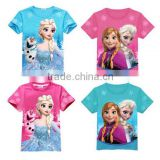 Kids Baby Girls Cotton Princess Cartoon Frozen Queen Elsa Snowman T-Shirts Tops elsa dress cosplay costume in frozen