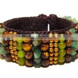 MMCF499A039 Handmade in Thailand Handwoven Tiger's Eye Stone Beaded Bracelet Boho Fashion Jewelry Semiprecious Stone Summer 2016