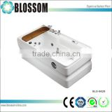 Wooden freestanding whirlpool bathtub with jets massage