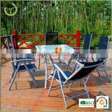 Outdoor patio 7 position folding aluminum chair set tempered glass 7 seater sling dining table set