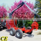 1ton 3ton atv log trailer with crane for forestry working