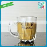 wholesale custom logo handle glasses creative bottom handle coffee glass cup clear glass drinkware tea mug glass