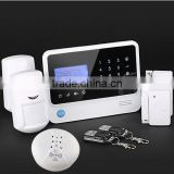 GSM alarm kit with smoke detector, wireless alarm system with touch keypad and LCD display