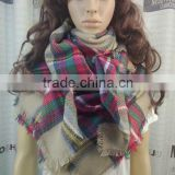 Trendy 2015 Fall Winter Hot Sell 55*55 inches Mix Color Checked Tartan Blanket Scarf Scarves