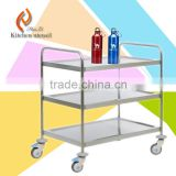 Hospital 1.0mm squre tube Stainless Steel Medical Trolley cart hotel room server 3 tiers trolley
