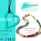 NEW BPA free Rainbow Silicone Teething Necklace and Wholesale Baby Teething Silicone Necklaces Food Grade Silicone Rubber Beads