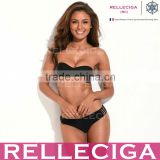 The Mystery of Elastic Straps - RELLECIGA Black Strappy Push-Up Bandeau Top & Strechy Cheeky Low Waist Bottom Swimwear