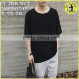 Men's round neck black t-shirt summer short-sleeved linen rock loose T-shirt                                                                         Quality Choice