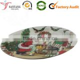 Christmas cartoon printing metal tin tray for candy fruit desktop tray                                                                                                         Supplier's Choice