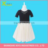 Short Sleeve Iron Rhinestone Bead Stitch By hand Fashion Children Girls party Princess Dress