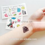 custom fashion small tattoo cute cartoon temporary tattoo holiday waterproof tattoo sticker
