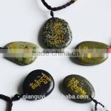 Beautiful Word Engraved Stones Necklace Regional Feature and Religious Style Engraved Handmade Stone Pendant Necklace