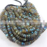 Wholesale natural flashy blue fire labradorite faceted roundel beads