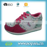 popular style high quality kids sneaker shoe,Cow suede and PU upper TPR sole Children sport shoes, fashion gilr shoes