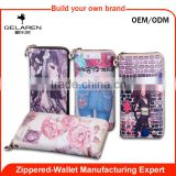 Factory Wholesale Long Zip Around Girl Purses With Detachable Strap