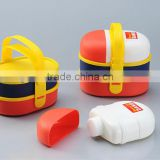 Waterproof plastic lunch box set with handle,contain two cute lunch boxes and one water bottle