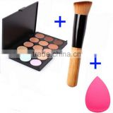 3in1 Makeup Contour Kit Concealer Palette + brush +sponge puff,cholor can be choice