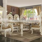 Luxury Ivory And Golden 8 Persons Home Use Dining Table, Baroque Wooden Decorative Display Cabinet And Side Board(MOQ=1 SET)