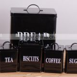 Set of 5 Household Square Metal Storage Canisters Bread Box Coffee Tea Biscuit Sugar Tin Jar