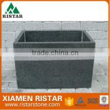 For sale black G654 granite stone flower pot in garden RST-DA10
