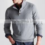 High Quality European Stylish Men's half button fashion cable pullover sweater with turtle neck(BKNM18)