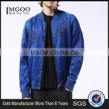 MGOO Foshan Factory Baseball Style Bomber Jackets Custom Embroidery Denim Jackets Zip Up Blue Long Sleeves Coat