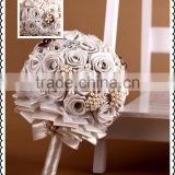High quality stain ribbon white rose wedding bridal bouquet/Artificial flower bouquet with vivid manmade stone and pearl beads.