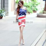 American Flag Printed Charming Lady Summer Wear Dress