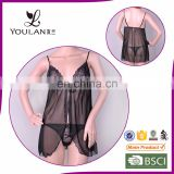 China Supplier Fitness Young Lady Black Sexy Bedroom Wear Nighty Lingerie