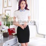 Newest High Quality Elegant Lapel Collar Blouse Shirt Girl Skirt Suit for Office