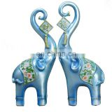 one pair unique blue elephant with flower back for wedding decoration and gifts