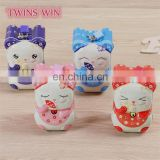 Hot sale Korean style birthday gift for girl child cute lucky cat cartoon tin money box metal piggy bank with lock and key