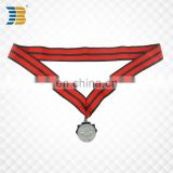 cheap custom silver weight lifting award sports medal with ribbon